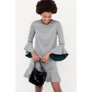 Chelsea28 Gray Ruffle Scuba Dress
